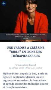"""""""Une varoise à créer une bible en ligne des thérapies douces."""" #online du Var Matin"""